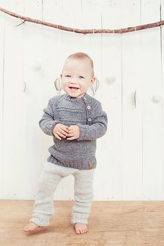 Grey children leggings / Hand knitted Alpaca pants / by GeraBloga