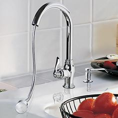 Solid Brass Pull Out Kitchen Faucet with Color Changing LED Light