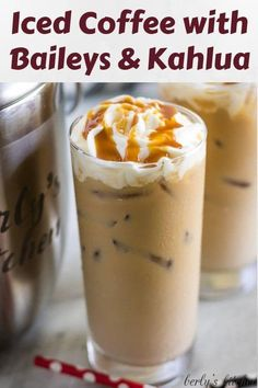 Drink recipes 540361655290213886 - Iced Coffee with Kahlua and Bailey's is the perfect pick-me-up. It's smooth, creamy, and slightly sweet with Irish cream and coffee flavors. Source by berlyskitchen Iced Coffee Drinks, Coffee Drink Recipes, Alcohol Drink Recipes, Coffee Coffee, Coffee Beans, Morning Coffee, Alcoholic Coffee Drinks, Coffee Shop, Frozen Drink Recipes