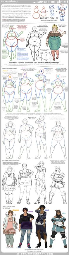 Hey new followers! In addition to writing, I also reblog art and great writing/drawing tips. This tutorial is incredible if you are a character designer looking to diversify your female characters. Adding weight to a character is not as simple as drawing a simple body and curving the lines; you have to know the body structure to get it right. A helpful guide for comic artists, character designers, and cosplayers alike. Tutorial - Curves on Girls by *Ai-Bee