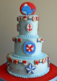 Nautical Baby Shower cake by Oh, Sugar! Events http://ohsugareventplanning.blogspot.com/