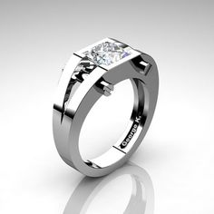 Modern 14K White Gold 1.25 Ct Princess White by artmasters on Etsy