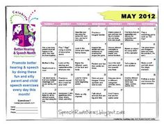 Better Speech & Hearing Month calendar gives you something new to do everyday by @Jenna Rayburn (SpeechRoomNews)