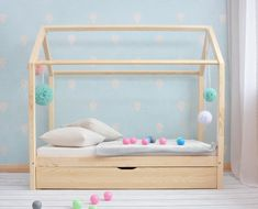 MILO Pull-out bed with drawer – With or without gates – hut bed Big Girl Rooms, Boy Room, Kids Room, Montessori Bed, Pull Out Bed, Bed With Drawers, House Beds, Kid Beds, Girls Bedroom