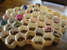 Building a honeycomb: Here's a fun collaborative project we did at our Gellin' with Geometry Family Math Night event. It was a great way to have everyone contribute. A fun family math night activity! It can also be done with a regular classroom or buddy classes! Here's a video version of the process and the math: http://www.youtube.com/watch?v=TFvRc3CqXv0 www.FamilyMathNight.com