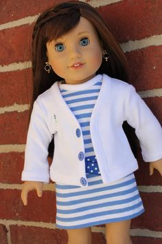 American girl doll clothes, 18 inch doll clothes, AG doll clothes, striped t-shirt dress with belt and cardigan