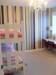 for the girls room - Feature Wall - Painted Stripes! (& also love the chandelier)