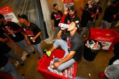 Carlos Martinez celebrates winning the NL Central division 9-30-15