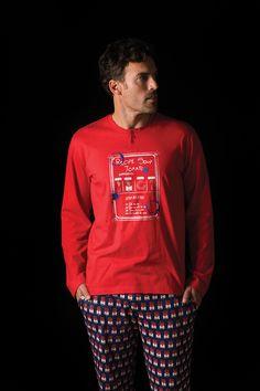 """Pijama hombre punto algodón Soy Homewear. Estampado de la colección """"tomato soup"""""""