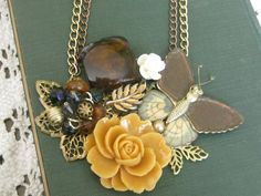 Vintage Jewelry Assemblage Necklace Rustic Garden by terrysgotit