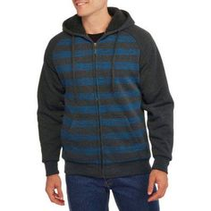 Climate Concepts Men's Stripe Fleece Sherpa Hoodie, Size: Large, Blue
