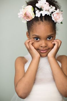 Portrait of a Black African American girl child beauty with flower crown by Janel Lee Photography in our Cincinnati Ohio portrait studio.
