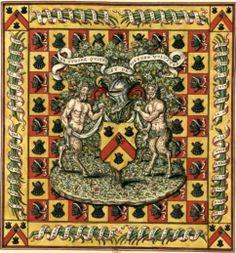 Armes d'Étienne Poncher (Gaignières 1796) -- Dessin de tapisserie à fond échiqueté d'or et de gueules, l'or chargé d'une coquille de sable, le gueules d'une tête de More aussi de sable. Au milieu, un terrain fleuri avec un arbre chargé de fleurs et de fruits, un écu et des satyres comme supports, Fonds Gaignières [BNF Réserve Pc-18-Fol.] -- «Armoiries d'Etienne Poncher, depuis Eveque de Paris, et Archeveque de Sens»