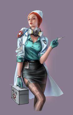 Pin Up Nurse, Nurse Art, Pin Up Girl Vintage, Vintage Nurse, Female Character Design, Character Art, Nurse Drawing, Pin Up Drawings, Sexy Nurse