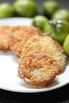 . fried green tomatoes   MMMMMMMmmmm!  One of my favorite treats!  Mix a little cornmeal in with these ingredients and another quick way is to purchase one of the tempura batter mixes and dunk the tomato slices in it and fry!!!
