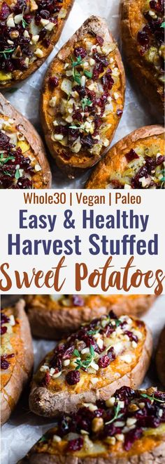 Harvest Paleo Vegan Stuffed Sweet Potatoes - These healthy stuffed sweet potatoe., Food And Drinks, Harvest Paleo Vegan Stuffed Sweet Potatoes - These healthy stuffed sweet potatoes are loaded with cozy, spicy-sweet fall flavors like cranberries, wal. Vegetarian Recipes, Healthy Recipes, Paleo Fall Recipes, Cranberry Recipes Vegan, Vegan Recipes With Potatoes, Dairy Free Recipes Easy, Sweet Potato Recipes Healthy, Vegan Thanksgiving, Sweet Potatoes Thanksgiving