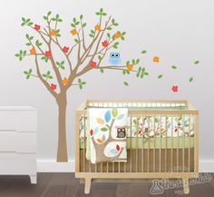Baby Nursery Vinyl Wall Decals, Treetop Friends, Tree and Owl Wall Decal Set. $97.00, via Etsy.