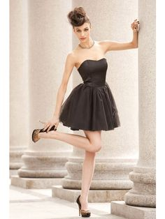 A-Line Strapless Tulle Bridesmaid Dresses with Ruffles