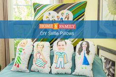 Selfie Pillows - This is the perfect DIY to do with your kids. Take a selfie, or use someone else's to customize any pillow or make a doll. DIY by @homemademimi on Home and Family.