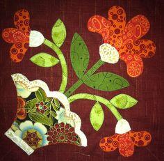 mimi's bloomers corner block one I like the brown background Applique Quilt Patterns, Hand Applique, Wool Applique, Applique Designs, Embroidery Applique, Pach Aplique, Folk Art Flowers, Wool Quilts, Flower Quilts