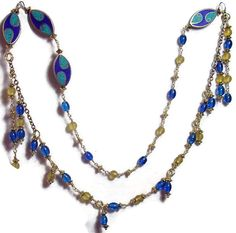 Asymmetric Necklace - Mosaic Medallions - Blue  Gold Wire Wrapped Beads-Inimitable Look