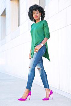 Side Slit Knit + Ankle Length Jeans