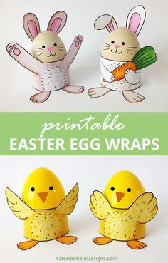 Easy printable Easter egg wrap craft for kids! | Make cute stands for decorated Easter eggs - just print, colour and assemble!