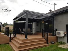 Residential projects Gallery - SunLouvre Peprgolas, High-end Adjustable Louvered Roof, Custom-Made residential projects. Gazebo On Deck, Pergola Patio, Backyard Patio, Backyard Privacy, Fire Pit Backyard, Patio Deck Designs, Patio Design, Louvered Pergola, Outdoor Awnings