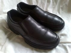 Men's Leather Slip-on Shoes | Men's ROCKPORT XCS Black Leather Slip On Shoes  Size