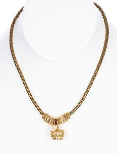 Sassy Braided Cord Metal Crown Pendant Necklace