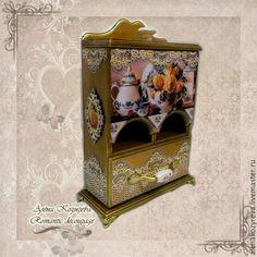 """Купить Чайный домик, комодик """"В голубом"""" - голубой, чайный домик декупаж, чайный домик"""