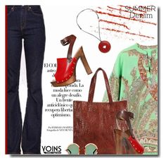 """High-Waisted Jeans-yoins.com / 12"" by bynoor ❤ liked on Polyvore featuring Dsquared2 and Linda Farrow"