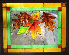 Faux Stained Glass Fall Leaves #FallColors - Who's ready for Fall? I can't wait, and I love the colors of Fall, especially when reflected thru stained glass. Th…
