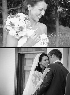 Ashley wore allover lace: gown, veil, and bolero