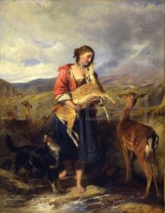 """""""The Pet Fawn"""" by William Powell Frith and Richard Ansell."""
