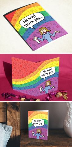 Gay LGBT funny greeting card gay lesbian bi bisexual trans transgender transsexual queer bear LGBTQ LGBTQA pride flag birthday anniversary just because gift for him for her boyfriend girlfriend dad mom brother sister gay LGBT support blessing holiday Christmas Xmas Hanukkah new year blank card I love you be yourself coming out of the closet be different gay love special occasion card
