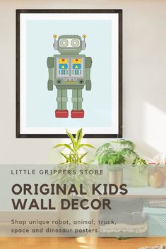 This Robot print is the perfect art for a fun kids room. These prints are based on the tin Robot toys of the 1960s and are a wonderful way to add some bright colour to the walls of toddlers rooms, nurseries or playrooms.