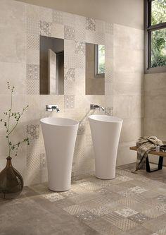 Kotto Collection by #emilceramica #emilgroup #tiles #ceramics #floortiles #interiordesign #madeinitaly #architecture #style #avana #bathroom #contemporary