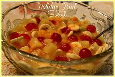 Sweet Tea and Cornbread: Holiday Fruit Salad! This one uses lemon pudding. Holiday Recipes, Holiday Meals, Christmas Recipes, Christmas Dinners, Christmas Foods, Christmas Sweets, Holiday Time, Easter Recipes, Christmas Baking