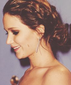 jennifer lawrence's braided updo and coppery lids
