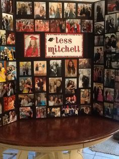 Graduation photo display board that I made for Tess\'s graduation party.