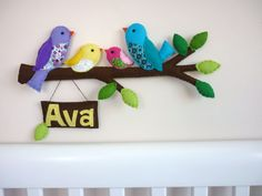 Rainbow Bird Family (your family) - Personalized Felt Wall or Door Hanging