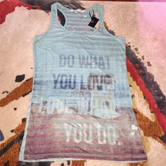 New Tank Top Cute lined mesh tank top- Do What you love love what you do baby blue tank Tops Tank Tops