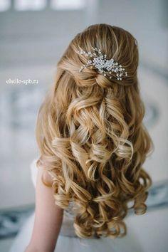 25 Elegant Half Updo Wedding Hairstyles | Tim and Jenny 8/8/18 ...