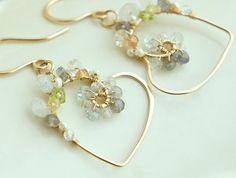 Heart Dangle Earrings Wire Wrapped Gemstones by Yukojewelry, $52.00
