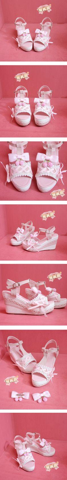 萌系日系90後軟妹可拆卸蝴蝶結甜美草莓花邊系帶露趾坡跟鞋-淘寶網