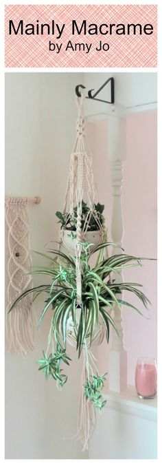 Enjoy this lovely double cotton macrame plant holder in your modern home.  White macrame plant hanger, Large double 2 tier, Modern Hippie hanging planter, Boho Long pot holder, Rope Hanger, White 3mm NATURAL COTTON