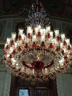 **Beylerbeyi Palace (on the Asian side, guided tour only, no photography allowed, beautiful interior) - Istanbul, Turkey Beautiful Chandelier, Fan Decoration, Beautiful Lights, Chandelier Ceiling Lights, Beautiful Lighting, Light Accessories, Favorite Lighting, Exterior Decor, Elegant Interiors