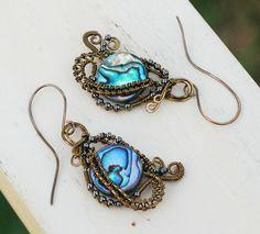 Abalone Shell Earrings Wire Wrap Earrings Woven Wrap Artisan Spiral Earrings #Jeanninehandmade #Wrap