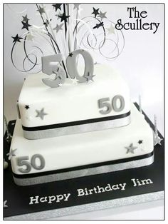 Blue Birthday Cakes For Women Blue And Silver 50th